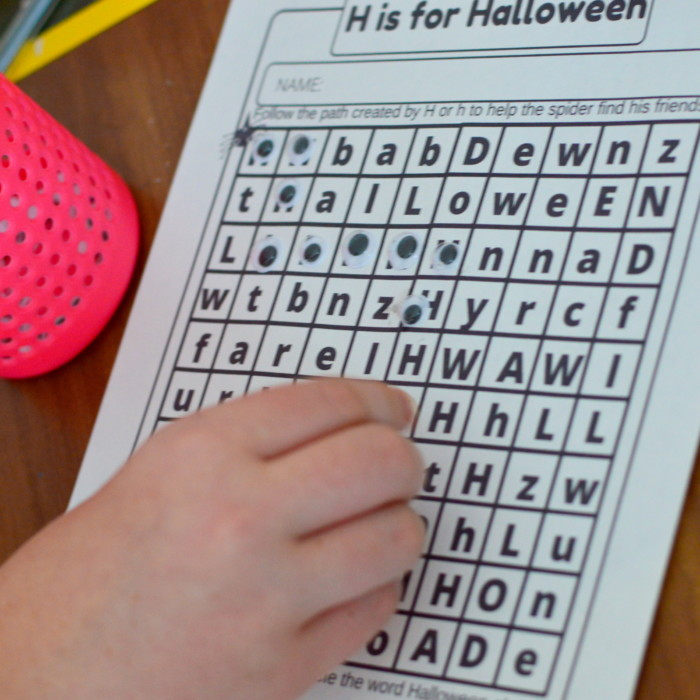 H and P Halloween Letter Practice Mazes Free Worksheet Printables