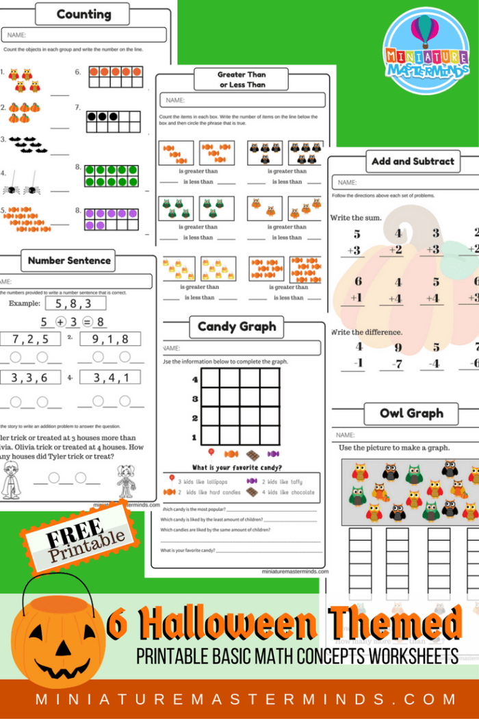 Halloween Themed Free Printable No Prep Math Counting ...