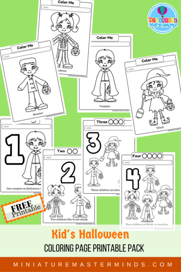 Kids Halloween Coloring Page Printable Pack 8 pages Miniature Masterminds
