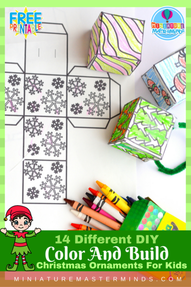 DIY Printable Color And Build Christmas Ornaments For Kids