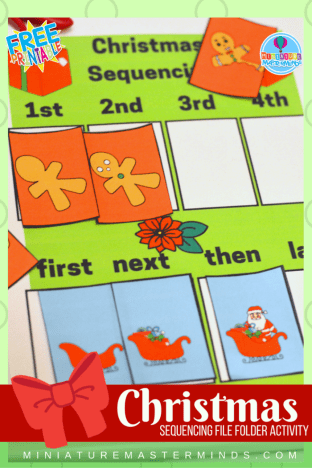 Christmas Picture Sequencing Printable File Folder Kindergarten And Preschool Activity