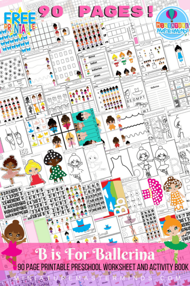Printable 90 Page Preschool and Kindergarten B is for Ballerina FREE Worksheet and Activity Book