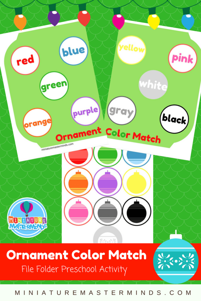 Ornament Color Matching Preschool File Folder Game