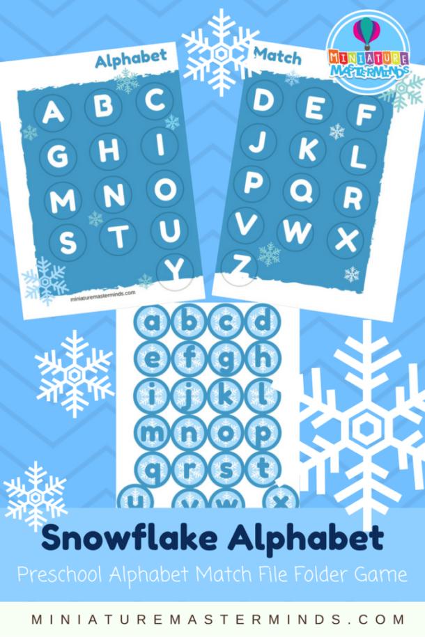 Snowflake Alphabet Match Preschool upper and lowercase Alphabet Matching File Folder Game