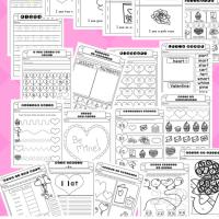 21 Page Non Prep Valentine Preschool Kindergarten Literacy Workbook