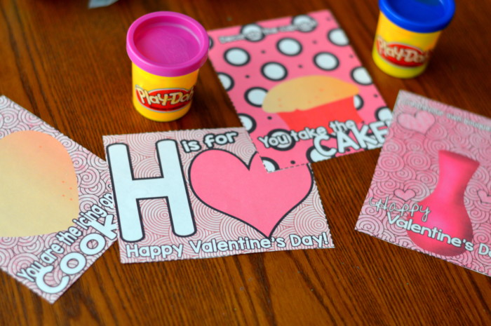 image relating to Play Doh Valentine Printable titled 4 Printable Valentine Working day Participate in Dough Valentine Playing cards