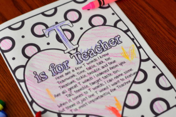 T Is For Teacher Coloring Page Valentine Or Teachers