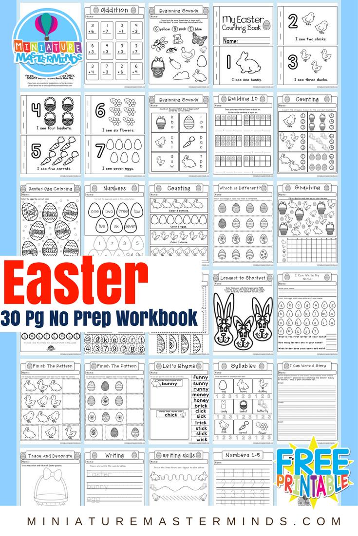 Easter No Prep Preschool And Kindergarten Worksheet 30 ...
