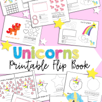 Free Printable Unicorn Themed Flip Book 1-20 Numbers, Colors, Alphabet, and Shapes Preschool, Kindergarten, and First Grade