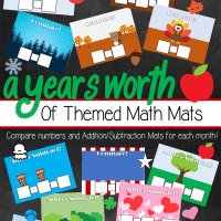 A Year's Worth of Themed Math Mats For Math Centers - Count, Compare Numbers and Add/Subtract up to 140