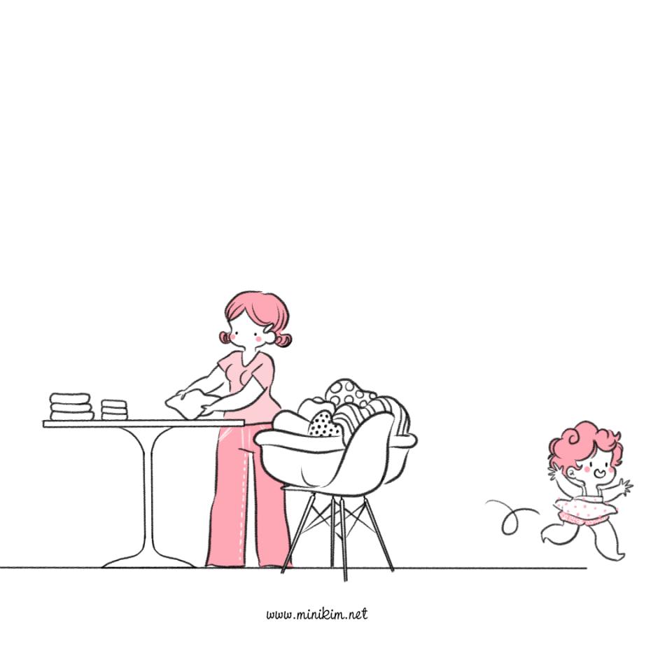 Blog BD Webtoon Webcomic MiniKim Bande dessinée Famille Tranches de vie Maman Mère et fille plier le linge Activité Organisation