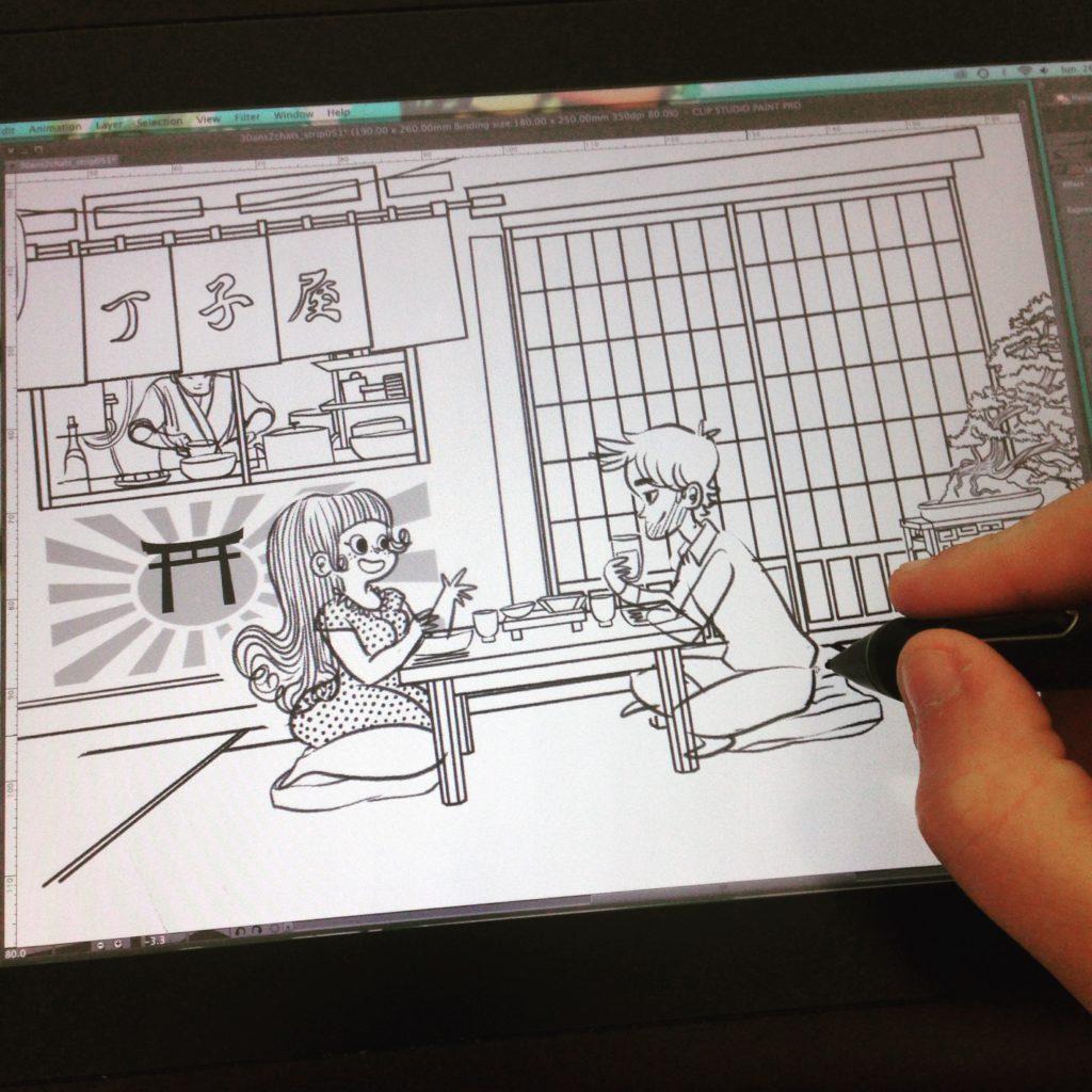 Restaurant japonnais, illustration, dessin japon cuisine japonnaise illustratrice bande dessinée 30 ans 2 chats