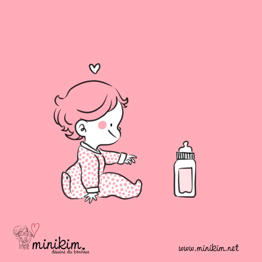 L'heure du biberon, bébé, biberon, petit bébé, dessin, illustration, montréal, illustrateur, MiniKim, dessinatrice, auteur, cute art, kawaii, dessin, rose, rose art, grenouillère, l'heure du biberon