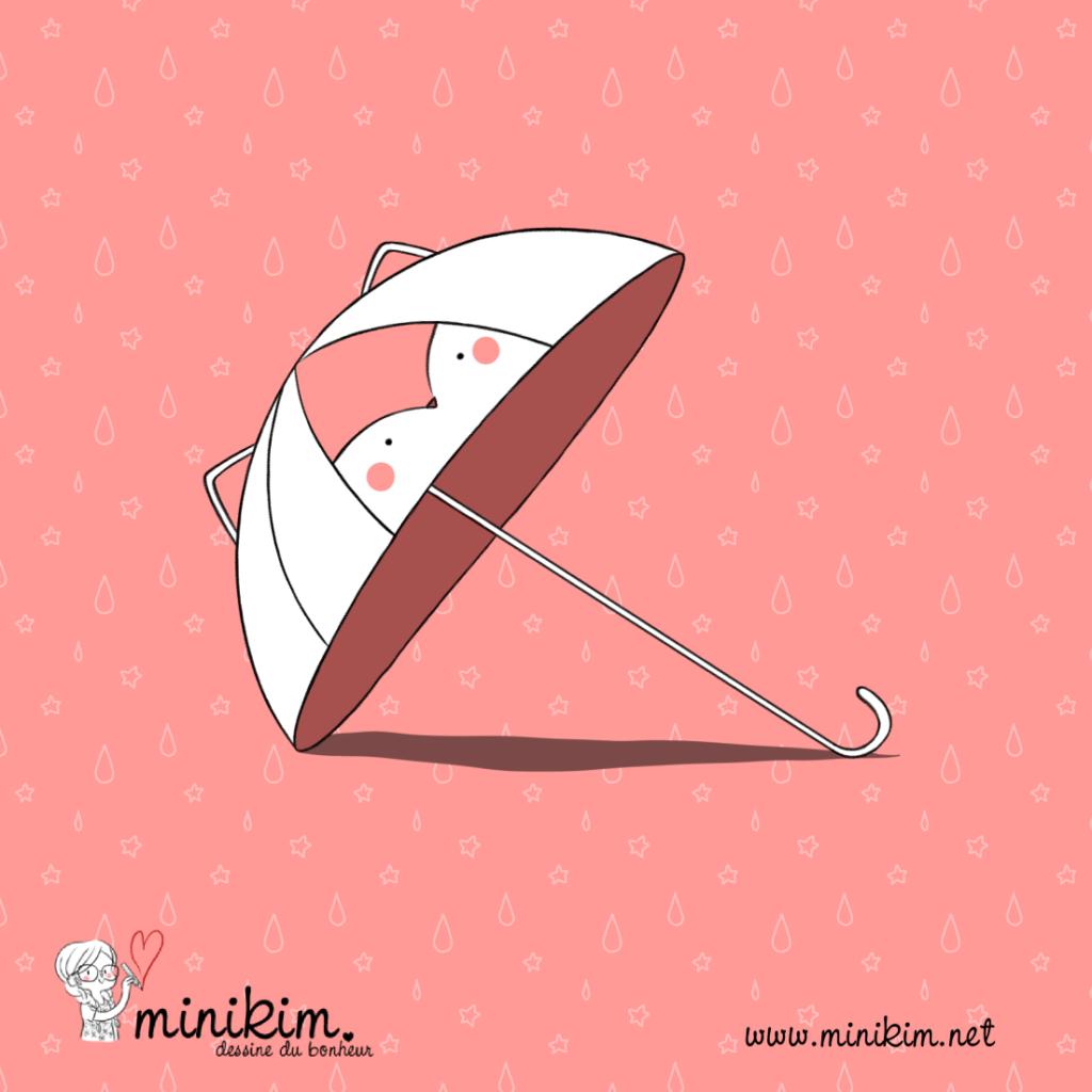 Petit parapluie, parapluie renard, parapluie enfant, parapluie mignon, cute, kawaii, renard, petite pluie, illustrateur, Bédéiste, auteur de BD, Montréal, MiniKim, Québec, joli parapluie,