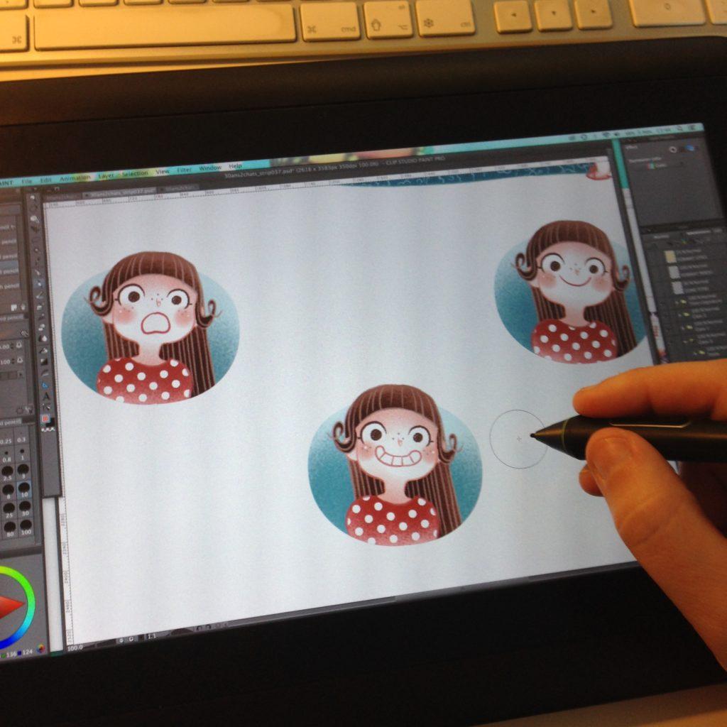 Dessin en direct, MiniKim, Dessin live, Dessiner live, Montréal, Québec, Auteur de BD, 30 ans 2 chats, Mise en couleur, cintiq, Cintiq 13 HD, Manga Studio, Clip Studio Paint, Tablette graphique, Dessiner en direct, Illustrateur, Illustratrice