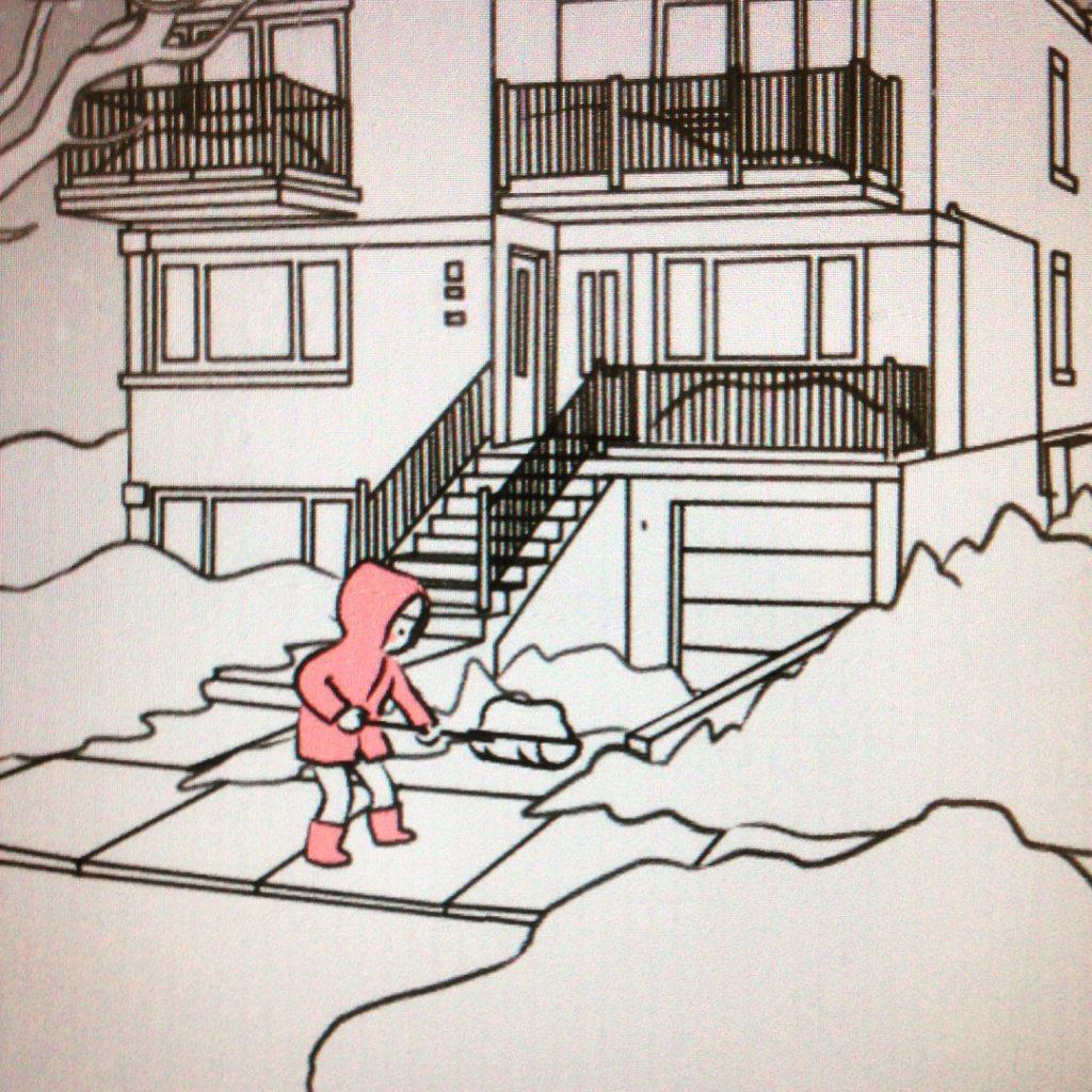 Montréal en dessin, Montréal dessiné, hochelaga maisonneuve, Hochelaga, vie de quartier à Montréal, MiniKim, dessine moi Montréal, BD en ligne, Bédéiste Québec, décor, Duplex Montréal, neige Montréal, première neige, pelleter, pelle à neige