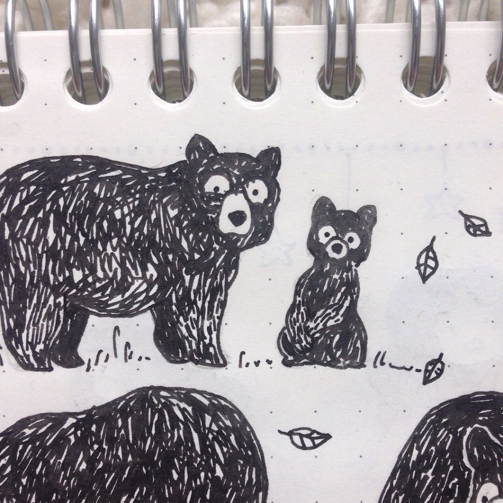 ours noir, ursus americanus, bear country, road trip, croiser des ours noir, que faire lorsqu'on croise un ours, illustration ours, dessin d'ours, ourson et sa maman, maman ours, bouba mon petit ourson, croquis, MiniKim, illustrateur, montréal, cute, mignon, gribouillage, doodle kawaii