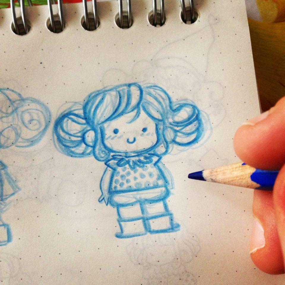 crayon col erase, col erase, col erase bleu, crayon dessin d'animation, fillette, minikim, croquis, carnet muji, croquis au crayon, carnet addict, carnet de croquis, carnet de dessins