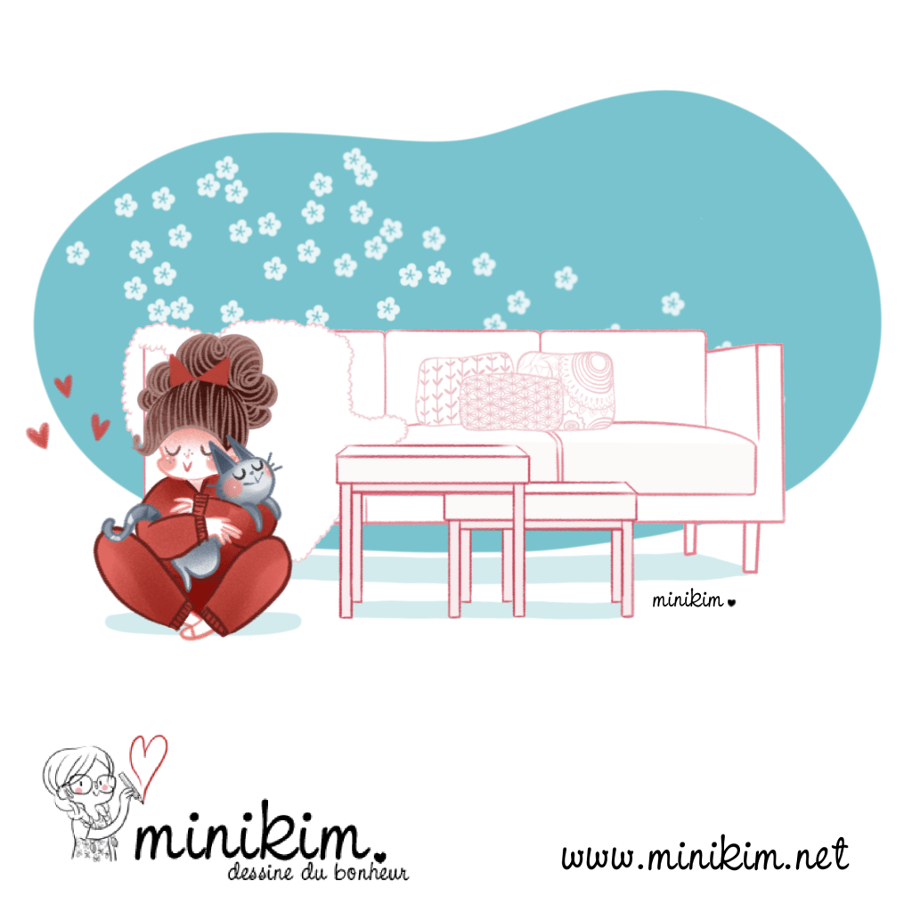 Câlin, tendresse, chat calin, chat mignon, BD de chat, Bande dessinée de chat, Minou, Une vie de chat, caliner son chat, chat mignon, amour, dessine du bonheur, MiniKim, auteure de BD, Montréal, Illustrateur, illustration, toute douce
