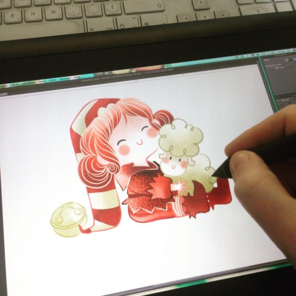 Lutin coquin, lutin de Noël, Lili Bulle, Mouton, mignon, adorable, MiniKim, illustration, Noël, Dessin de Noël, Noël kawaii, Mouton mignon, Montréal, illustrateur, dessin tablette cintiq, dessin numérique, clip studio paint, dessinatrice