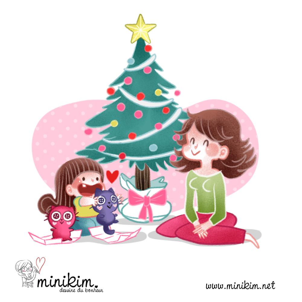 Joyeux Noël illustration Sapin Chat, dessin, Cute, kawaii, cadeau de Noël, sapin rose, déco kawaii, cadeaux de Noël, enfant heureux, dessin, MiniKim, veillée de Noël, ouvrir les cadeaux, Christmas, Montréal