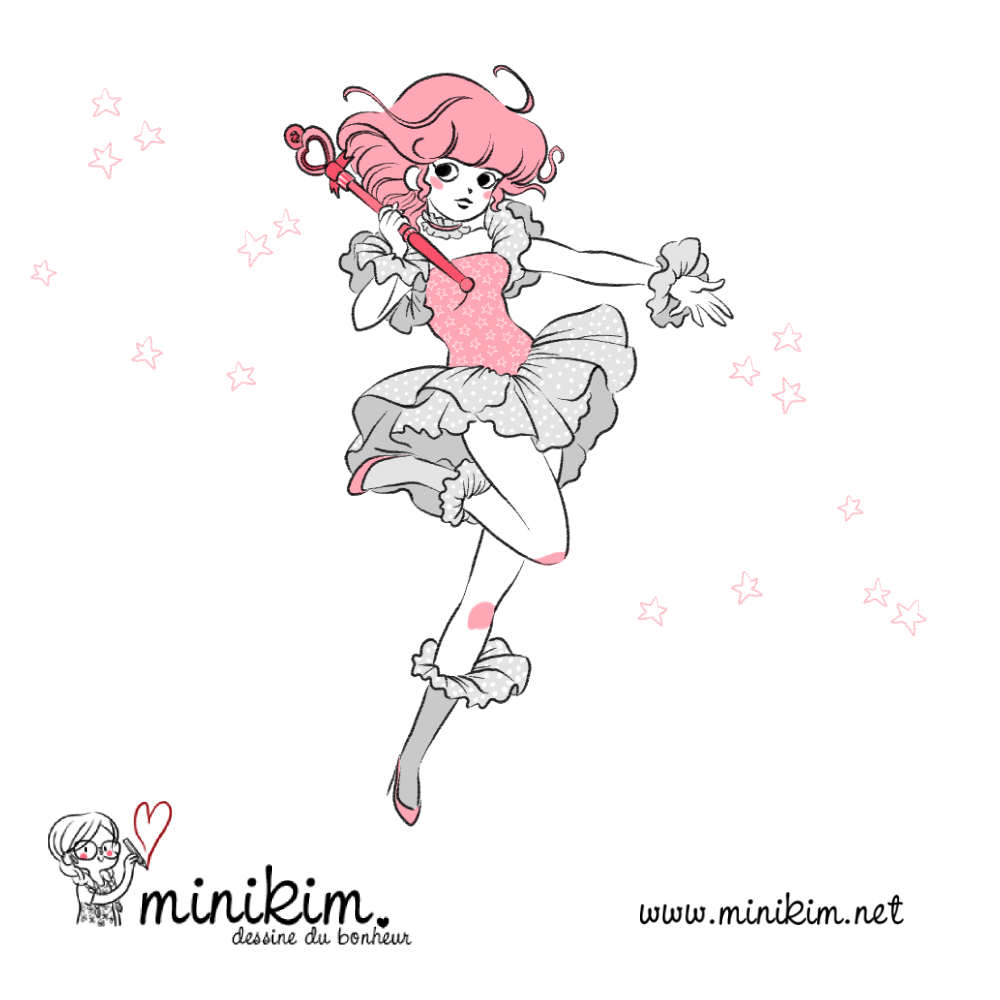 Creamy merveilleuse creamy, claude lombard, Yu Morizawa, Creamy mami, l'incantevole creamy, pampelilu, Minikim, fanart, dessin, illustration, magical girl, kawaii art, kawaii artist, cute art, mignon, rose, baguette magique, magical girl, Minikim, montréal, québec