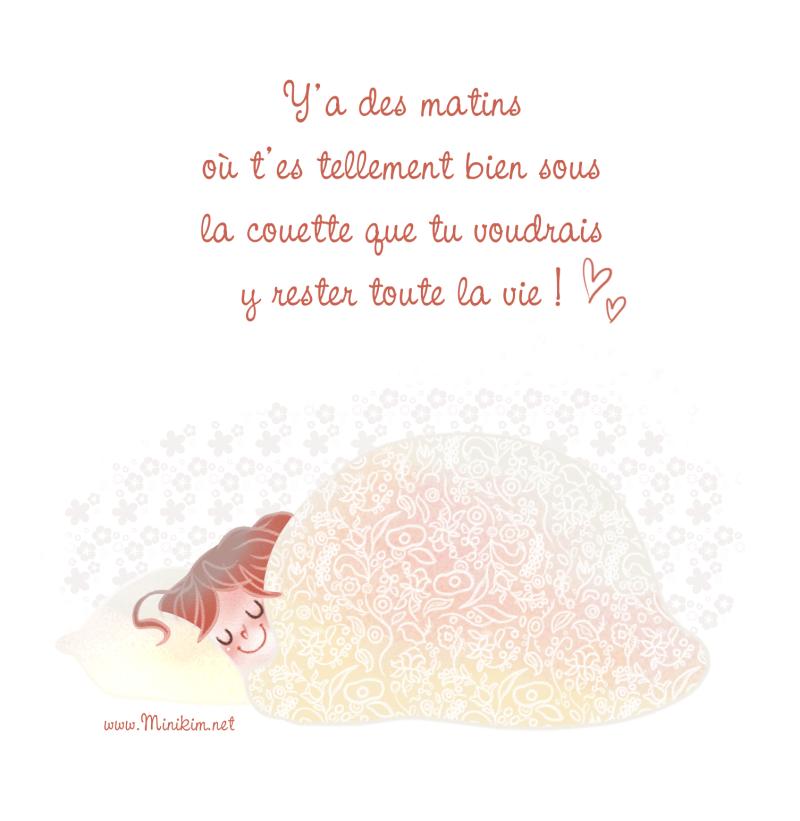 Sous la couette, rester au lit, rester au lit toute la journée, bien au chaud sous ma couette, Minikim, illustration, dessin, illustratrice, Illustrateur, Montréal
