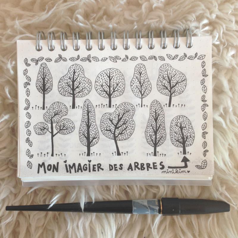 imagier, arbres, carnet addict, minikim, dessin, dessin à l'encre, carbon ink pen, japan pen, carnet muji, muji, dotted, cute art