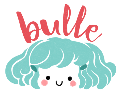 logo, Minikim, Bulle, bande dessinée, titre, title, création de logo, illustration, cute, mignon, adorable, aqua and red, rouge et bleu, dessin