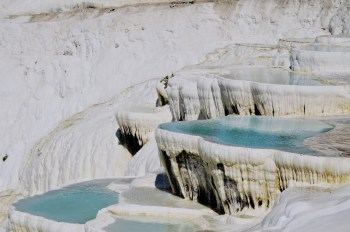 The calcium travertines in Pamukkale, Turkey
