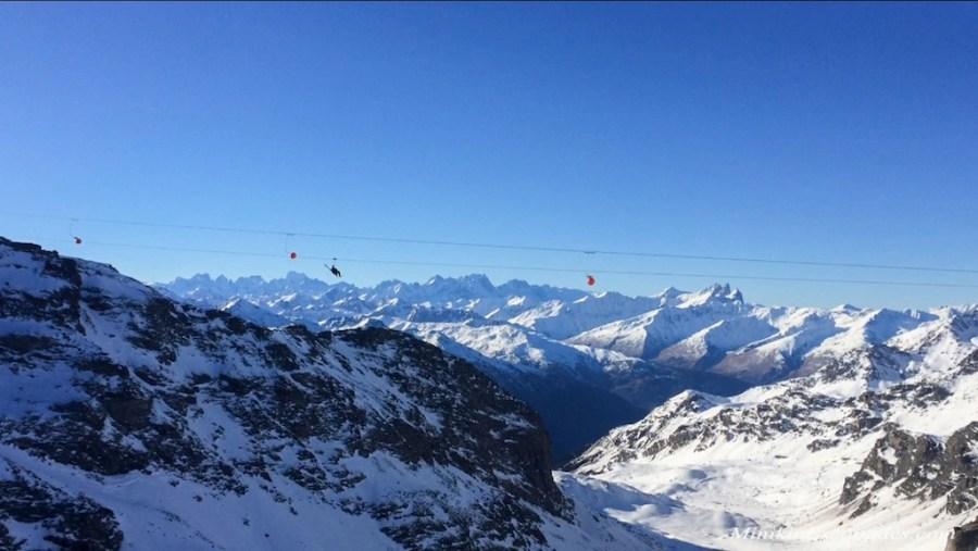 Zipline in Les 3 vallees, french alps