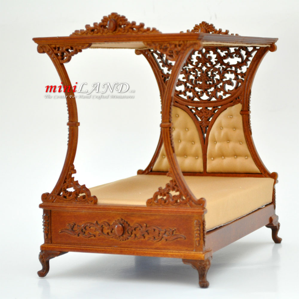 Luxurious Canopy Bed For DollHouse 112 Scale Miniature