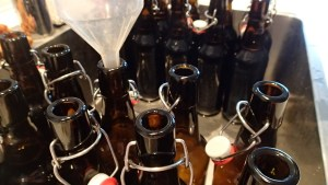 The actual process of bottling beer