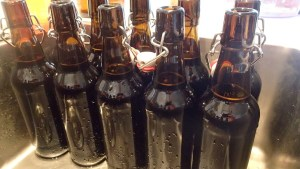 Beer bottles full to the right level - leave some room at the top