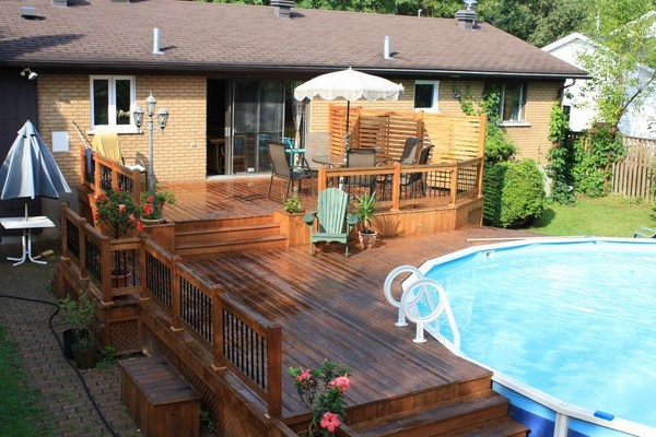 Above ground pool deck plans, design ideas and useful tips on Pool Deck Patio Ideas id=40570