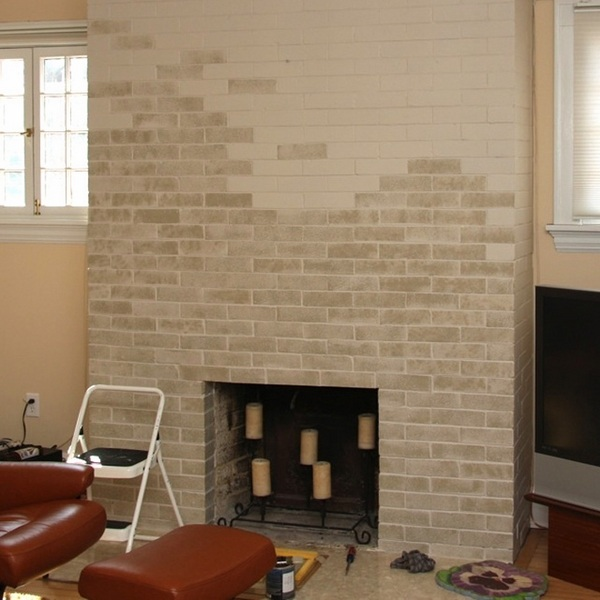 Brick fireplace makeover - before and after ideas and cool ... on Brick Painting Ideas  id=99925