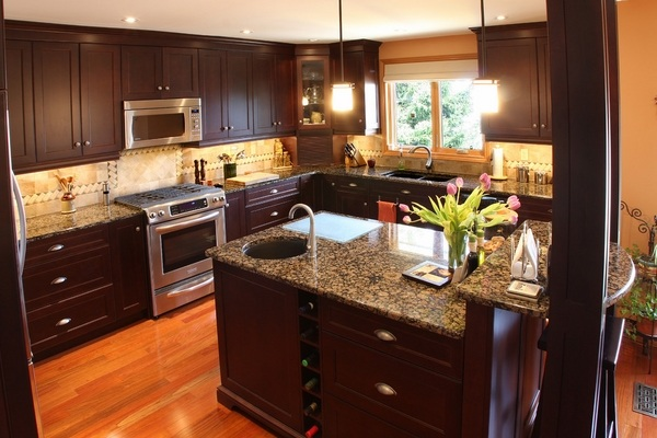 Baltic brown granite countertops - texture and charm to ... on Maple Kitchen Cabinets With Dark Wood Floors Dark Countertops  id=84606