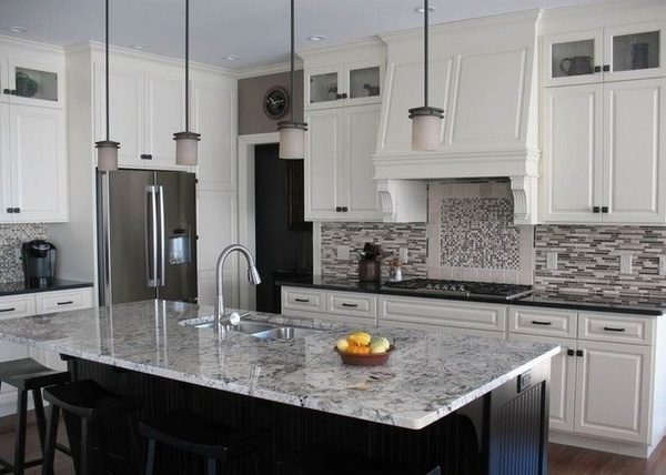 White ice granite countertops for a fantastic kitchen decor on Backsplash Ideas For White Cabinets And Granite Countertops  id=91836