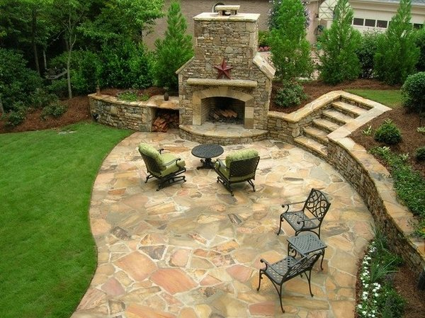 Flagstone patio ideas - the perfect outdoor space design on Patio Stone Wall Ideas  id=61153