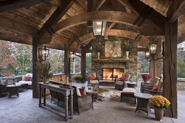 50 stone fireplace design ideas - the irresistible power ... on Covered Patio Design Ideas id=61097
