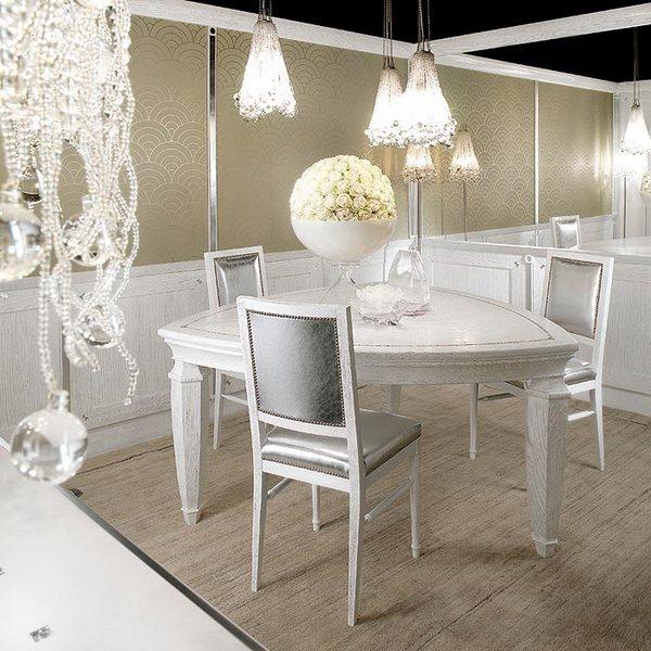 Muebles de comedor mesa de comedor triángulo blanco chiars