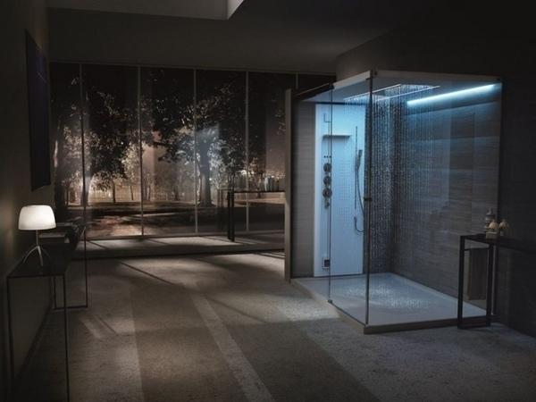 Las ideas modernas de ducha de vidrio pie en ideas de la ducha del cuarto de baño contemporáneo