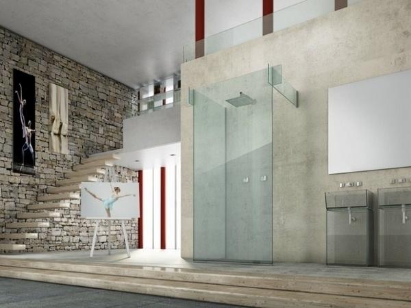 Las ideas modernas de ducha de vidrio pie en tabiques de ducha de vidrio Ideas