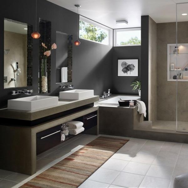 Modern bathroom colors - 50 Ideas how to decorate your ... on Monochromatic Bathroom Ideas  id=11741