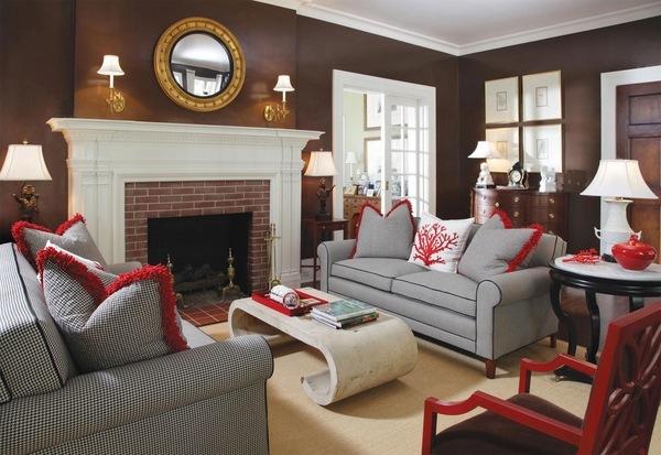 Marrón salón de color gris de la pared conjunto de sofás chimenea espejo de mesa de café de mármol de la pared