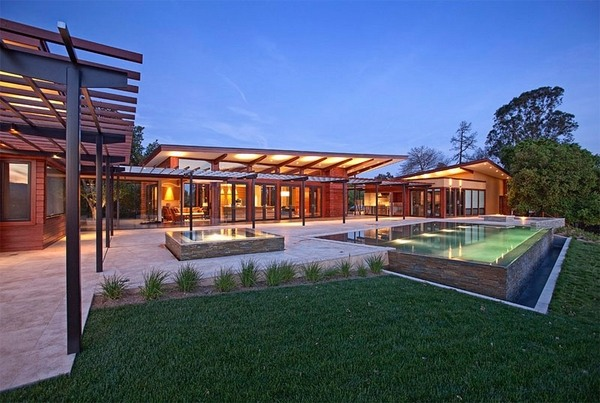 Above ground pool decks - 40 modern garden swimming pool ... on Pool Deck Patio Ideas id=19862