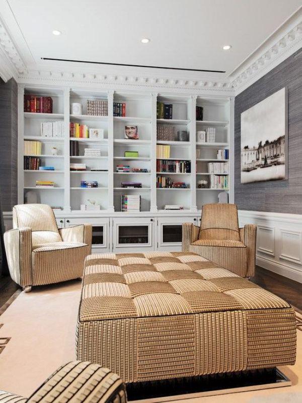 contemporánea marrón diseño de la sala de estar y sala de estar gris interior estantería blanca