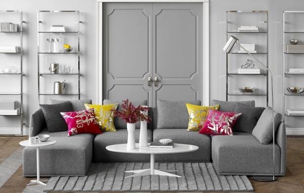 Ideas sala de estar sala de estar gris, serie gris sofá seccional mesa de centro blanca