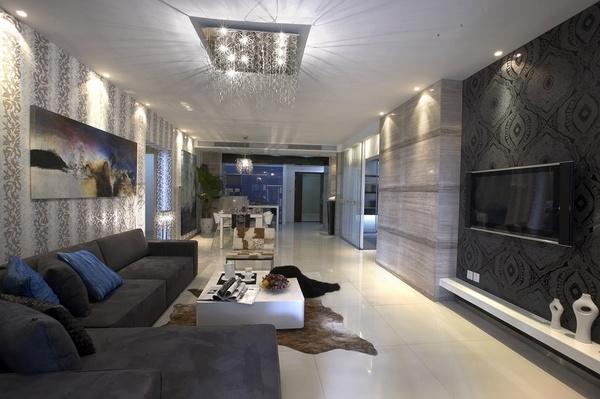 salón moderno muebles paredes grises gris Sala ideas
