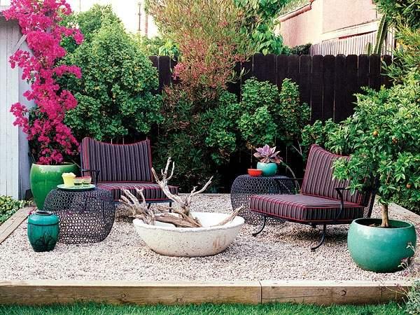 Patio landscape design - cost effective pea gravel patio ... on Low Cost Backyard Patio Ideas id=98611